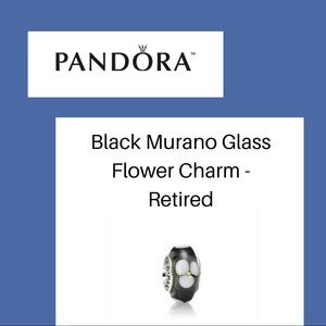 Pandora Black Murano Flowered Charm